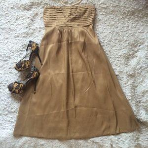 NWOT Silk Banana Republic Gold Strapless Dress 0